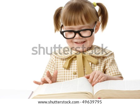 Cute little girl reads book, back to school, isolated over white