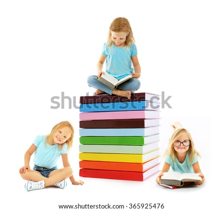 Cute little girl sitting on and near stack of books isolated on white