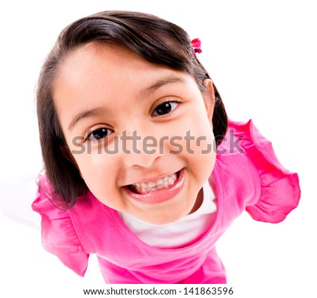 Cute little girl smiling - isolated over a white background - stock photo