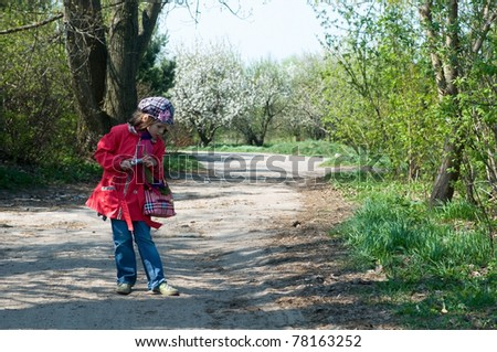 Cute Little Girl Takes Pictures - stock photo