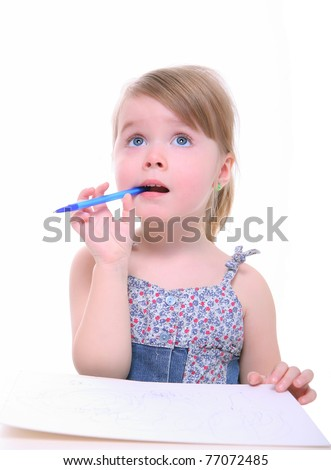 cute little girl thinking looking up, curious child. preschool kids. isolated on white - stock photo