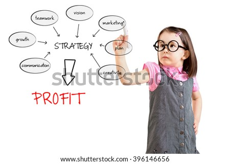 Cute little girl wearing business dress and writing a schema at the whiteboard with ideas for a good strategy to make profit. White background. - stock photo