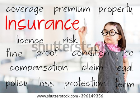 Cute little girl wearing business dress and writing insurance concept. Office background. - stock photo