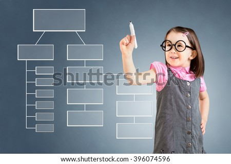 Cute little girl wearing business dress and writing process flowchart diagram on screen. Blue background. - stock photo