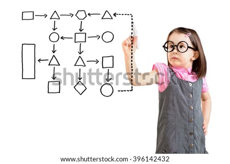Cute little girl wearing business dress and writing process flowchart diagram on screen. White background. - stock photo