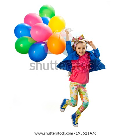 Cute little girl with balloons jumping. Isolated white background. Happiness, fashionable concept. - stock photo