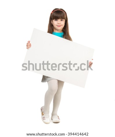 cute little girl with empty paper sheet in hands isolated on white background