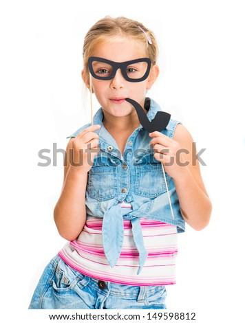 cute little girl with fake glasses with pipe - stock photo