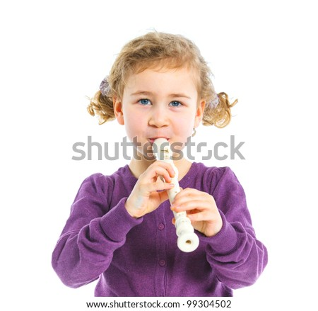 Cute little girl with  flute. Isolated on white background
