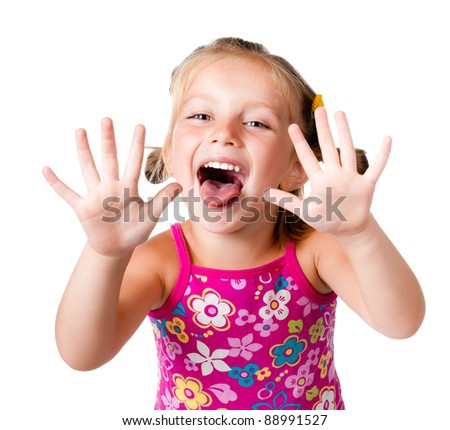 cute little girl with her ??hands up on the white - stock photo
