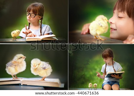 Cute little girl with her little chicken outdoors - stock photo