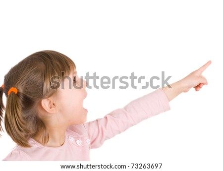 Cute little girl with index finger up - stock photo