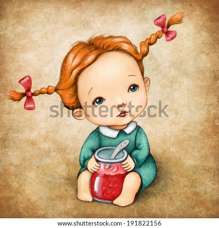 cute little girl with jam jar - stock photo