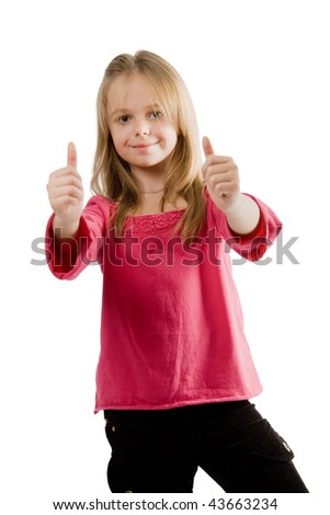 Cute little girl with thumbs up - stock photo