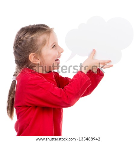 Cute little girl with white blank - stock photo