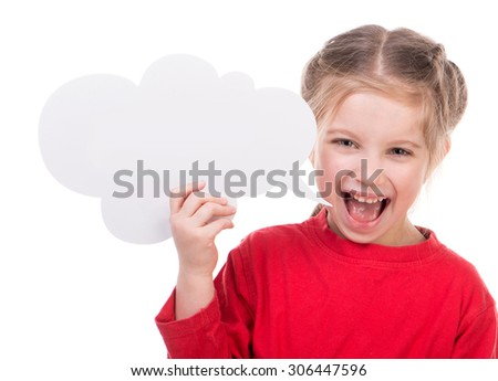 Cute little girl with white blank