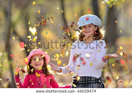 cute little girls in the park - stock photo