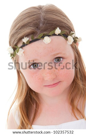 cute little Irish child with freckles - stock photo