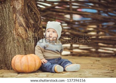 Cute little kid having enjoying countryside/ Outdoor - stock photo