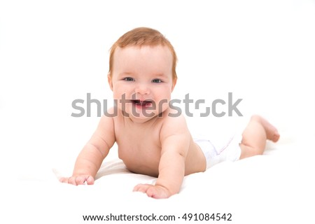 Cute little laughing crawling baby isolated on white