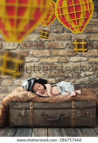 Cute little newborn baby - stock photo