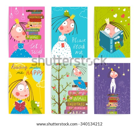 Cute Little Princess Kids Reading Fairy Tale Books Library Poster Collection. Colorful a4 cute girl cards big bundle with a sign for a little child about reading literature. Raster variant. - stock photo