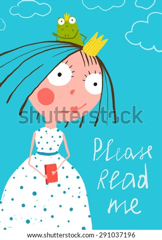 Cute Little Princess with Prince Frog Reading Fairy Tale Book Poster. Colorful a4 cute card with a sign for a little child about reading books. Raster variant. - stock photo