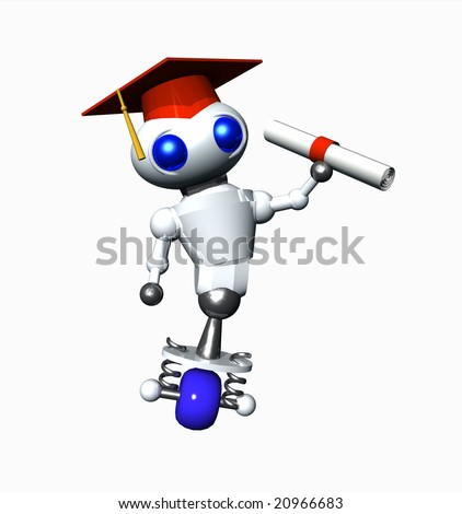 Cute little robot after graduation with a diploma.