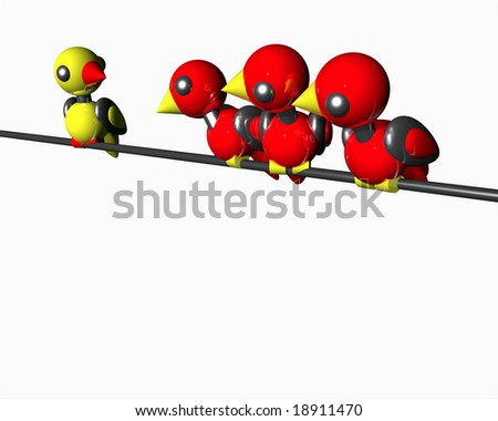 Cute little robot birds sitting on a wire. - stock photo