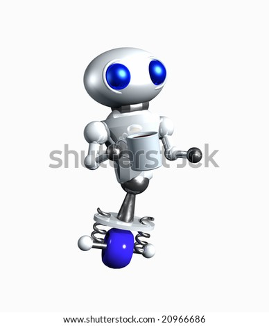 Cute little robot holding a cup of coffee.