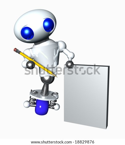Cute little robot holding a pencil and blank paper. Blank paper suitable for your message - stock photo