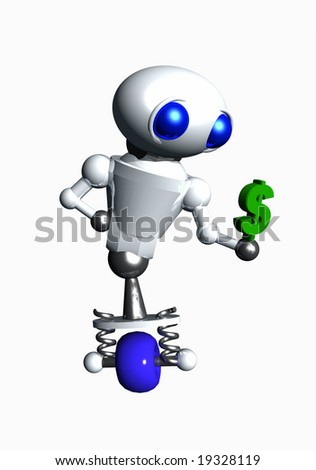 Cute little robot holding a small green dollar sign.