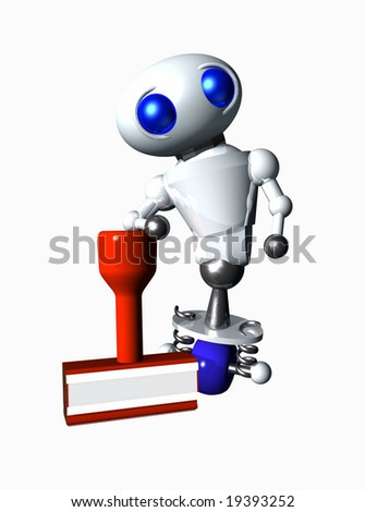 Cute little robot leaning against a rubber stamp. Blank area suitable for your message. - stock photo
