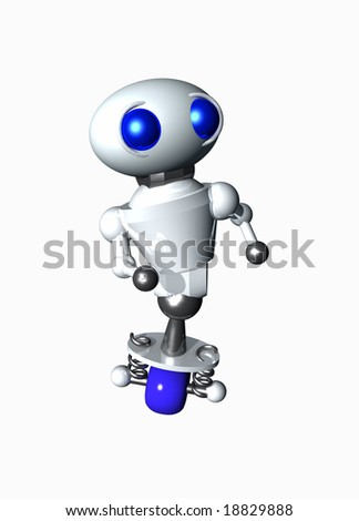 Cute little robot looking at something in the distance. - stock photo