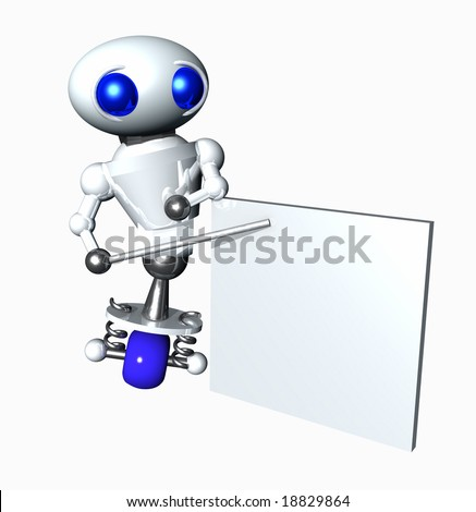 Cute little robot pointing to a blank chart. Blank area suitable to contain your message.
