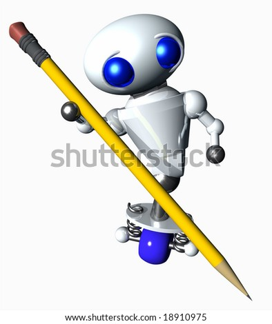Cute little robot using a large yellow pencil.