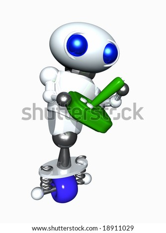Cute little robot with a generic green video game joystick.