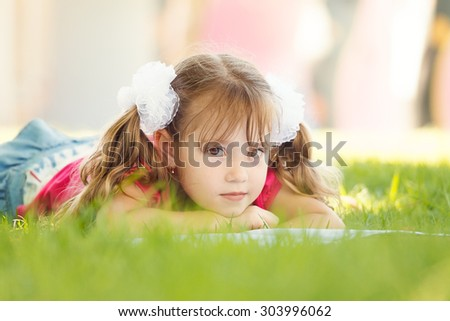 Cute Little School Girl  Reading Book - stock photo