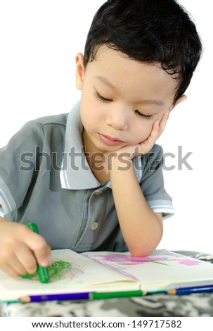 Cute little schoolboy drawing isolate on white background