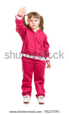 cute little sport girl waving, isolated on white