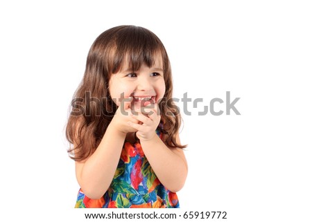 Cute little year old girl smiling like a shy girl on a white background - stock photo