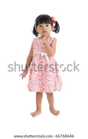 cute llittle girl isolated on white background - stock photo