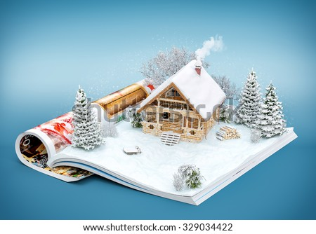 Cute log house on a page of opened magazine in winter. Unusual winter illustration - stock photo