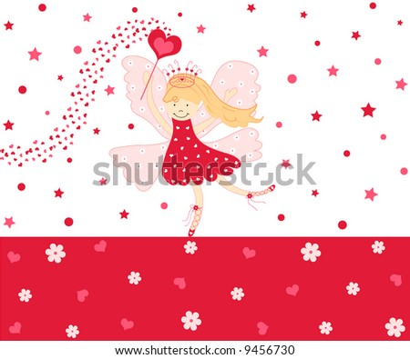Cute love fairy with hearts and flowers - stock photo