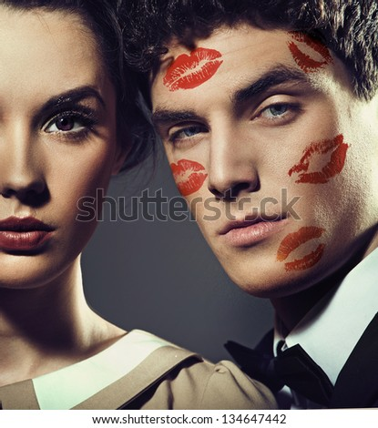Cute loving couple - stock photo