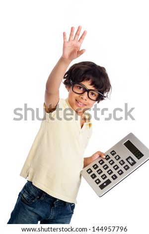 Cute mixed race boy with big calculator. Isolated on white studio background. - stock photo