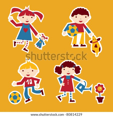 Cute modern style illustration of children playing with their favorite toy - stock photo