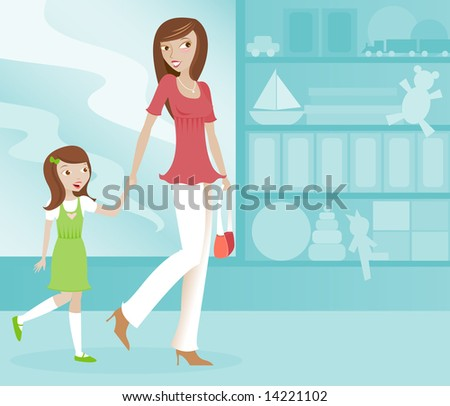 Cute Mom and her excited daughter shopping together at a toy store - stock photo