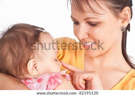 cute mom with her little daughter on white