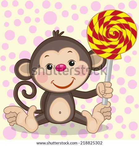 Cute Monkey with candy on a dot background  - stock photo